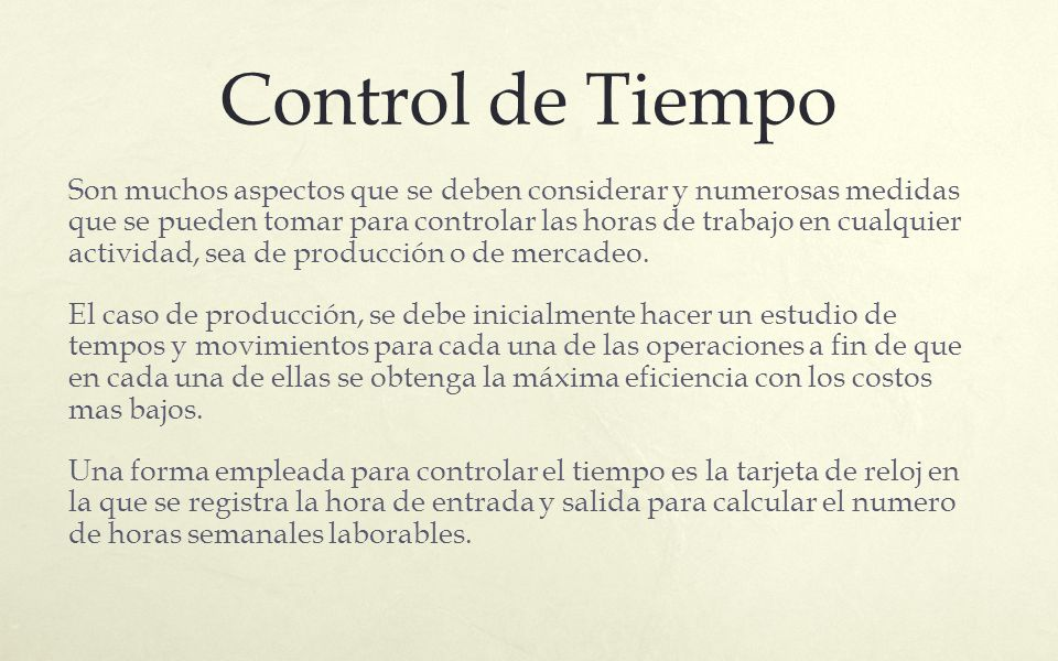Control de Tiempo