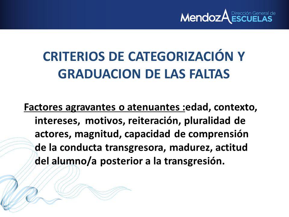 CRITERIOS DE CATEGORIZACIÓN Y GRADUACION DE LAS FALTAS