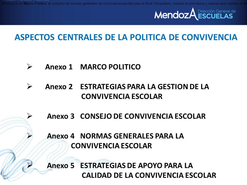 ASPECTOS CENTRALES DE LA POLITICA DE CONVIVENCIA