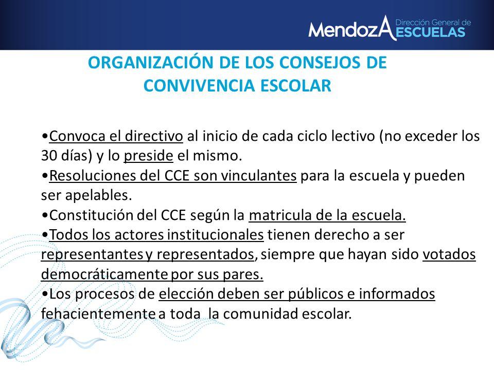 ORGANIZACIÓN DE LOS CONSEJOS DE CONVIVENCIA ESCOLAR