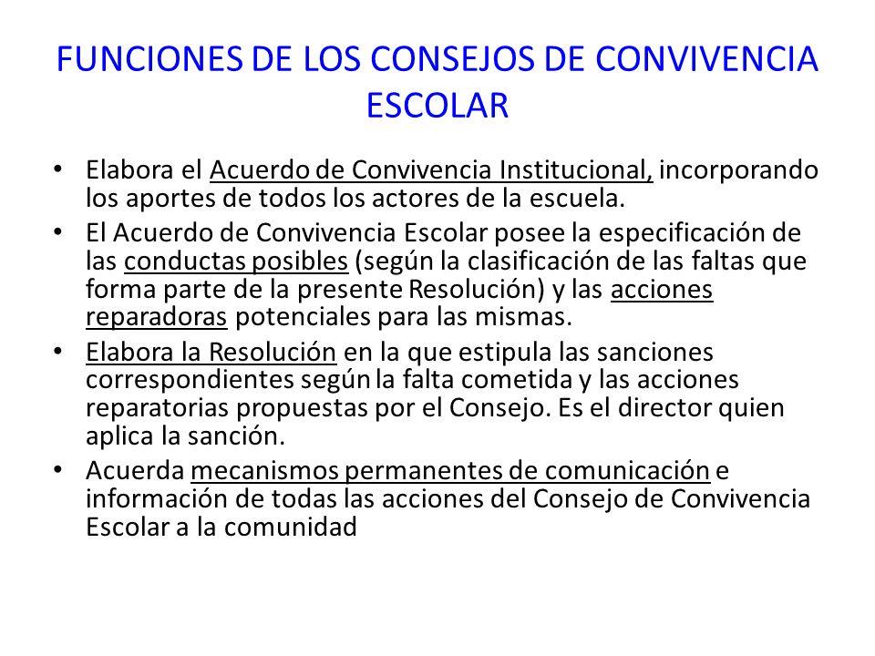 FUNCIONES DE LOS CONSEJOS DE CONVIVENCIA ESCOLAR