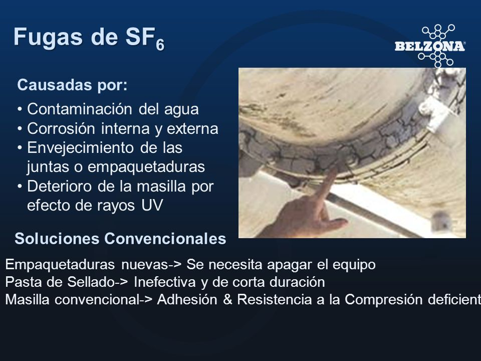 Fugas de SF6 Causadas por: Contaminación del agua