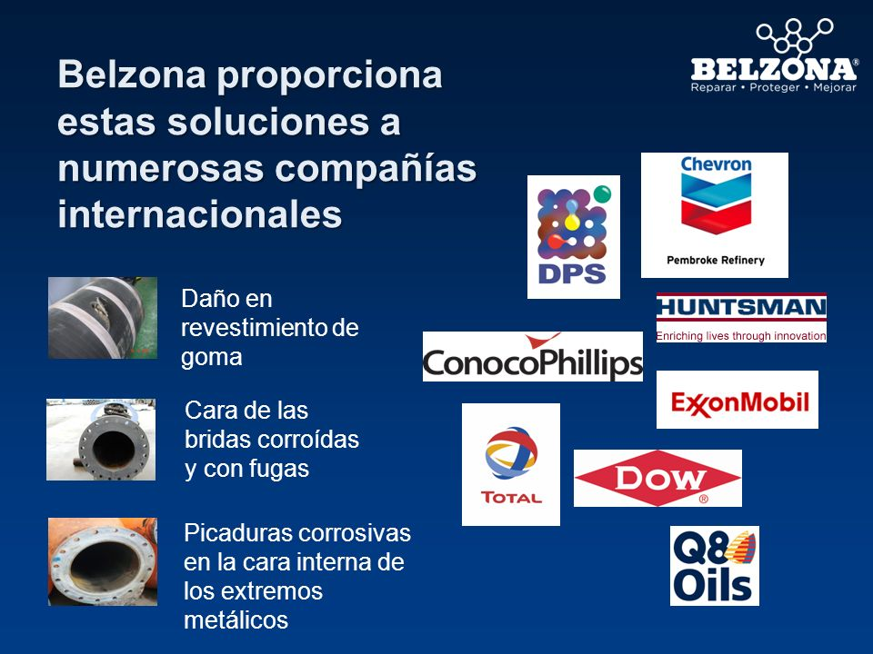 Belzona proporciona estas soluciones a numerosas compañías internacionales