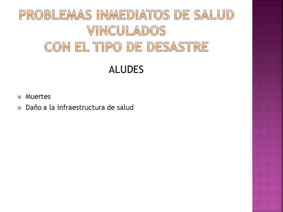 PROBLEMAS INMEDIATOS DE SALUD VINCULADOS CON EL TIPO DE DESASTRE