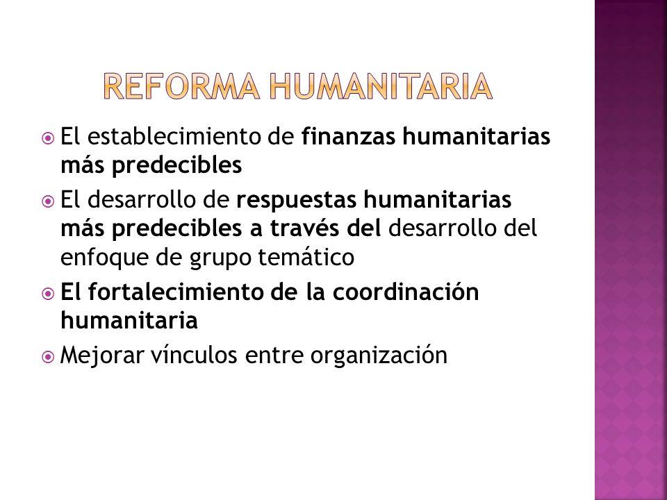 Reforma Humanitaria El establecimiento de finanzas humanitarias más predecibles.