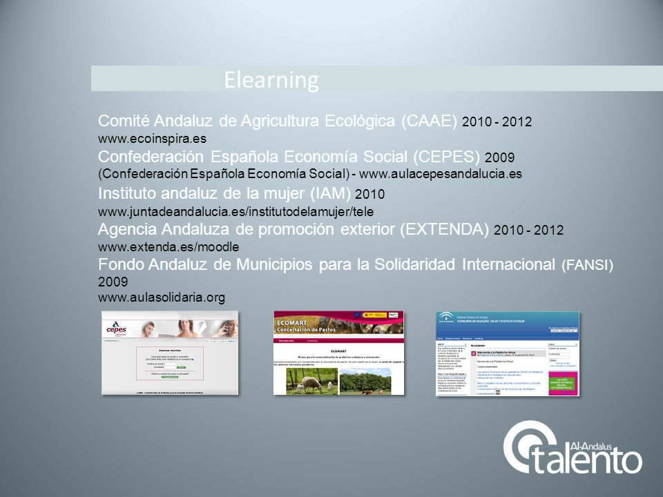 Elearning Comité Andaluz de Agricultura Ecológica (CAAE) 2010 - 2012