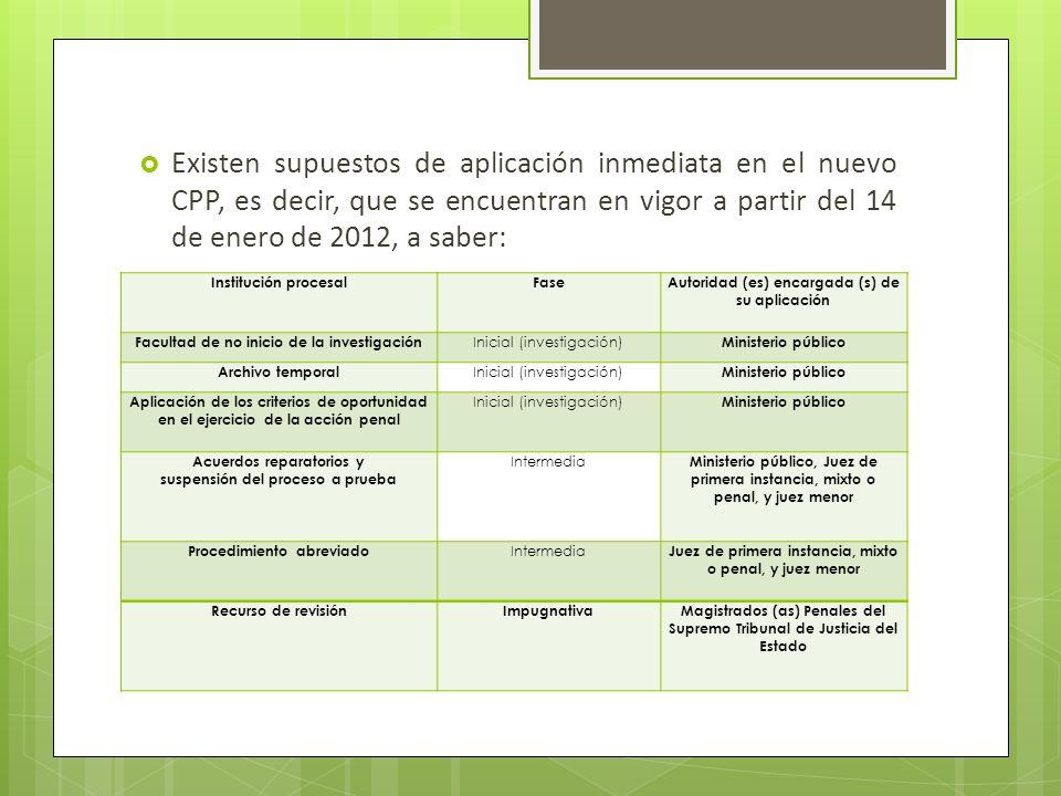 Existen supuestos de aplicación inmediata en el nuevo CPP, es decir, que se encuentran en vigor a partir del 14 de enero de 2012, a saber: