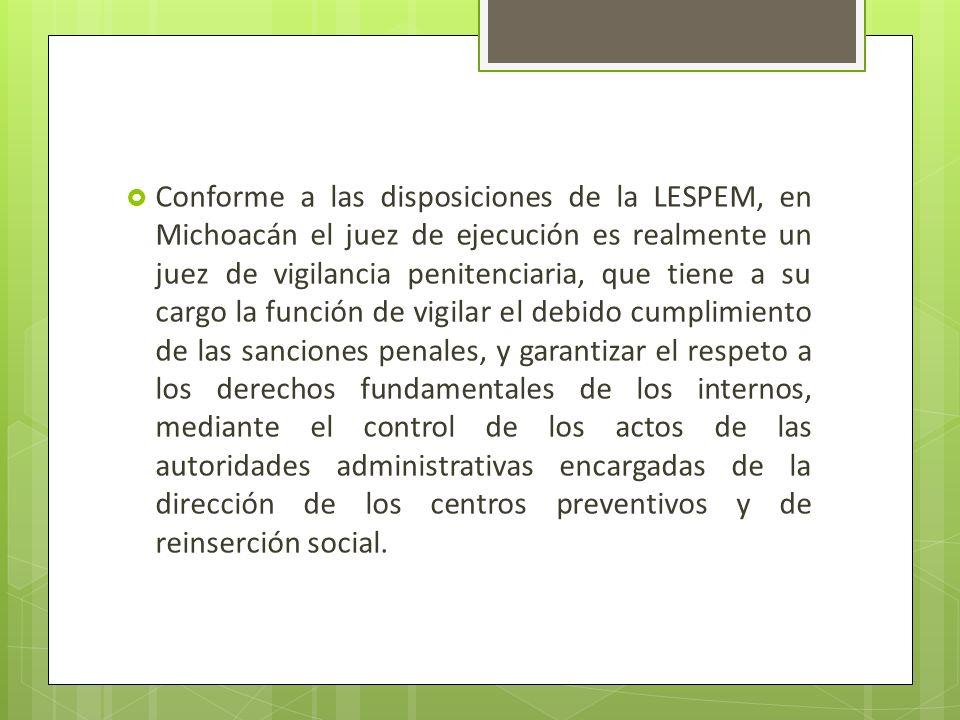 Conforme a las disposiciones de la LESPEM, en Michoacán el juez de ejecución es realmente un juez de vigilancia penitenciaria, que tiene a su cargo la función de vigilar el debido cumplimiento de las sanciones penales, y garantizar el respeto a los derechos fundamentales de los internos, mediante el control de los actos de las autoridades administrativas encargadas de la dirección de los centros preventivos y de reinserción social.