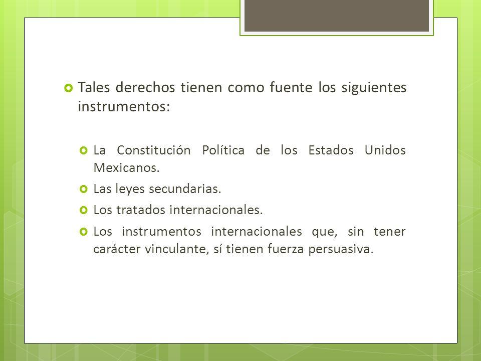 Tales derechos tienen como fuente los siguientes instrumentos: