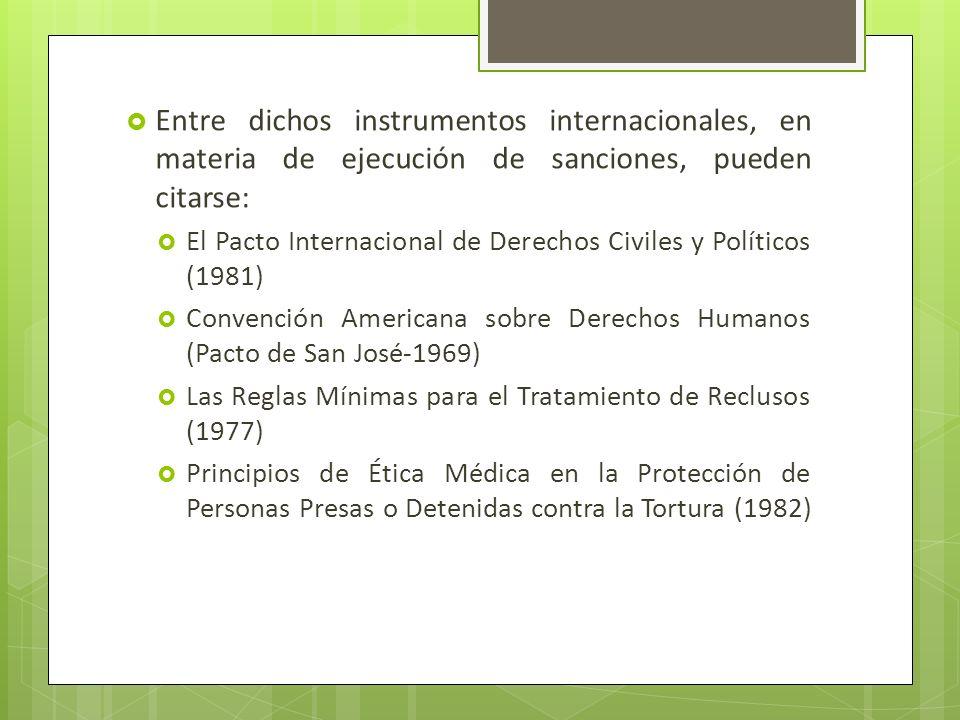 Entre dichos instrumentos internacionales, en materia de ejecución de sanciones, pueden citarse: