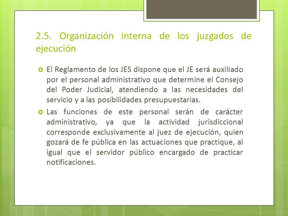 2.5. Organización interna de los juzgados de ejecución