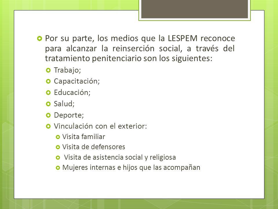 Por su parte, los medios que la LESPEM reconoce para alcanzar la reinserción social, a través del tratamiento penitenciario son los siguientes: