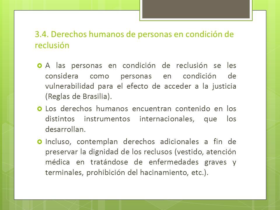 3.4. Derechos humanos de personas en condición de reclusión