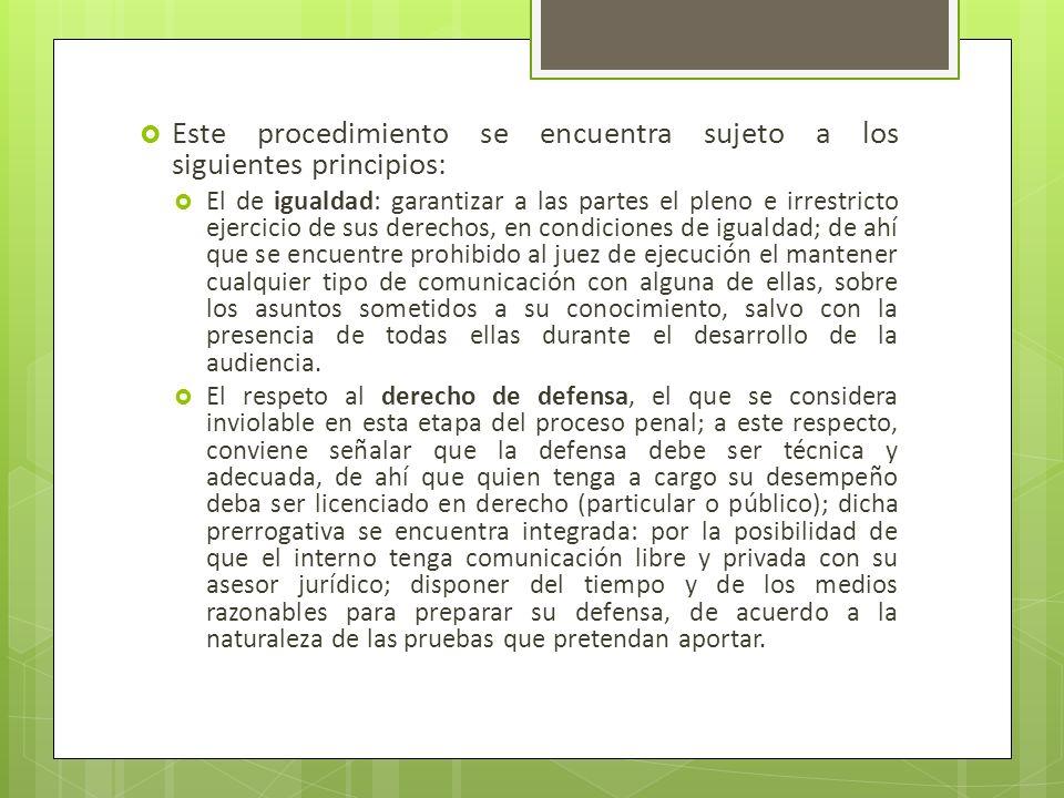 Este procedimiento se encuentra sujeto a los siguientes principios: