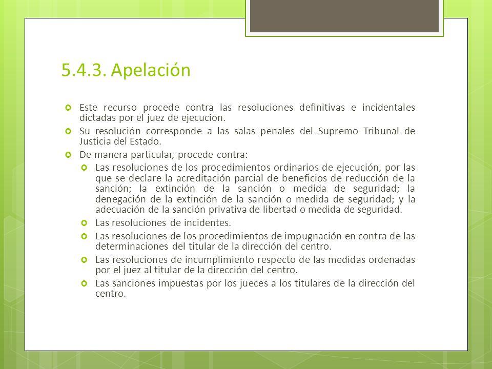 5.4.3. Apelación Este recurso procede contra las resoluciones definitivas e incidentales dictadas por el juez de ejecución.
