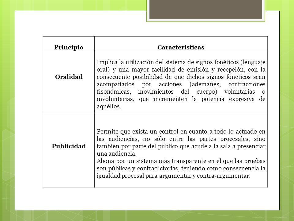 Principio Características. Oralidad.