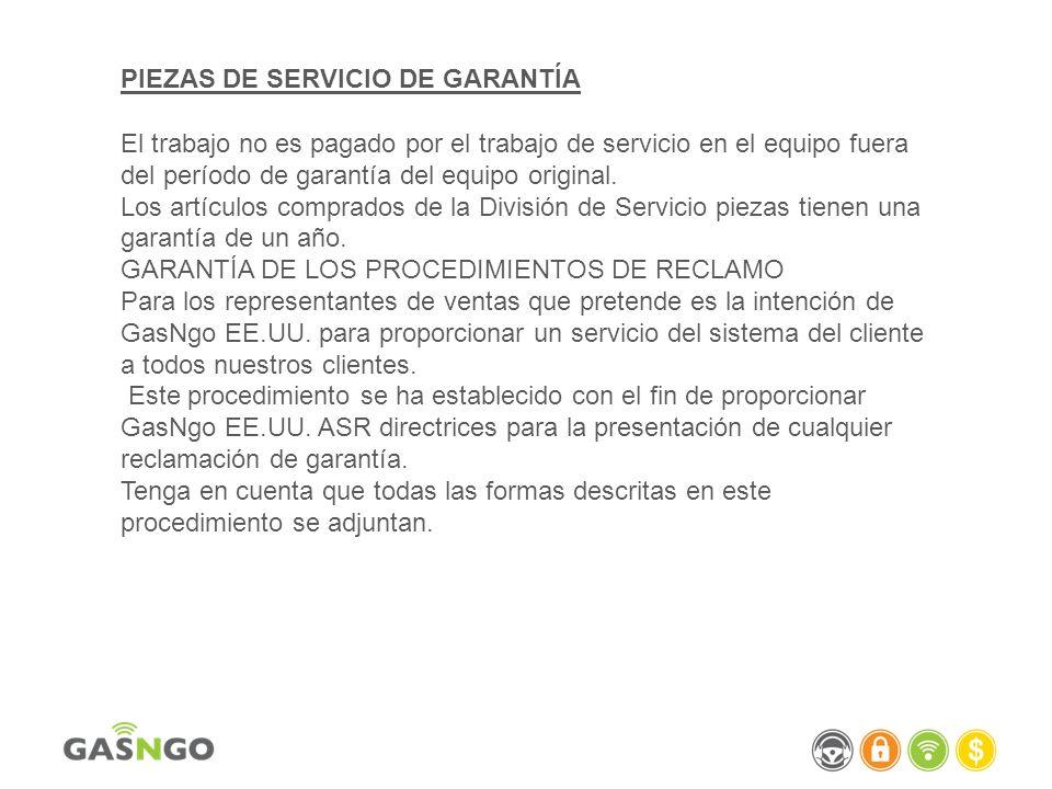 PIEZAS DE SERVICIO DE GARANTÍA