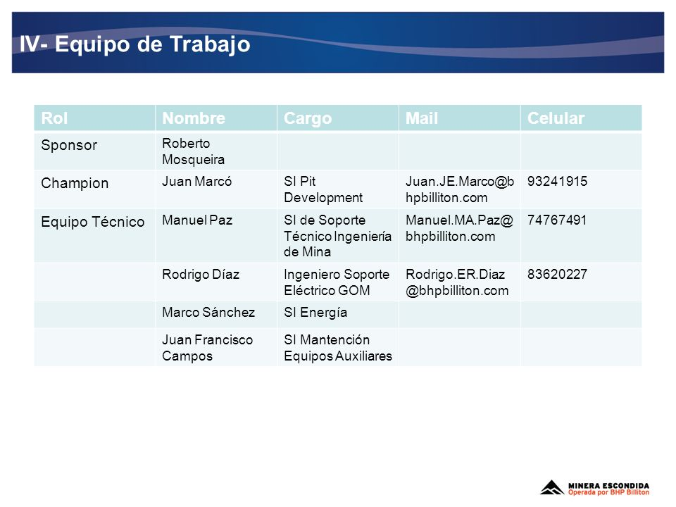 IV- Equipo de Trabajo Rol Nombre Cargo Mail Celular Sponsor Champion