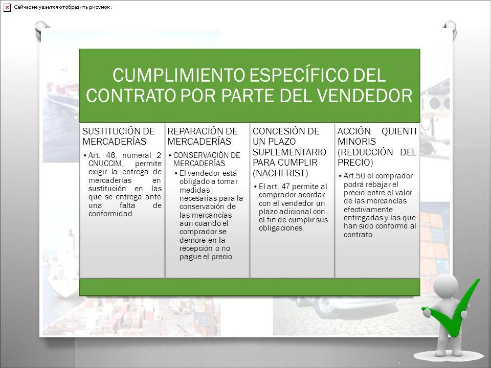 CUMPLIMIENTO ESPECÍFICO DEL CONTRATO POR PARTE DEL VENDEDOR