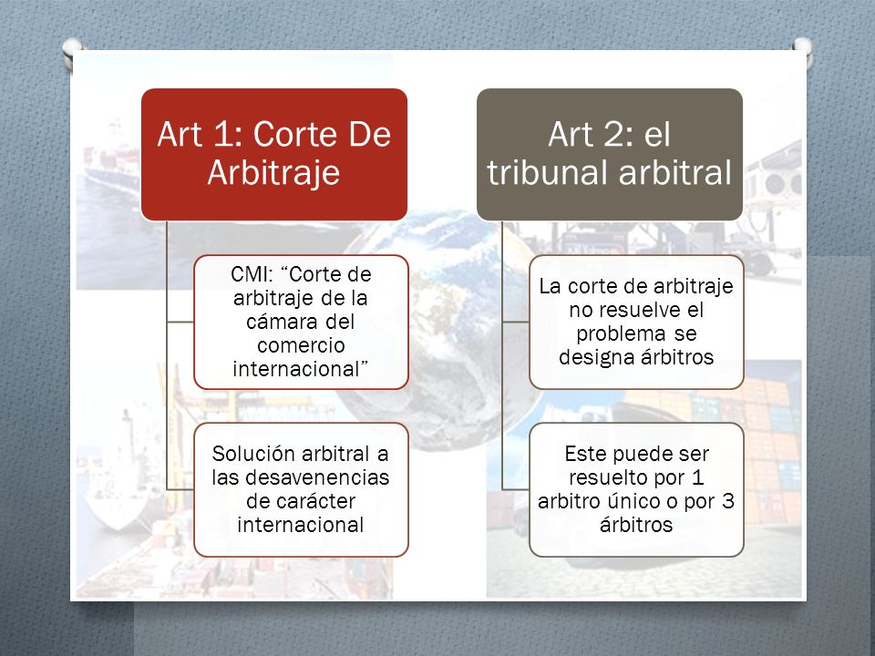 Art 1: Corte De Arbitraje Art 2: el tribunal arbitral