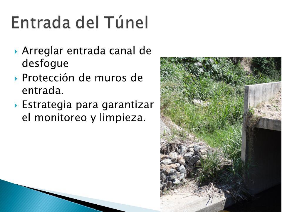 Entrada del Túnel Arreglar entrada canal de desfogue