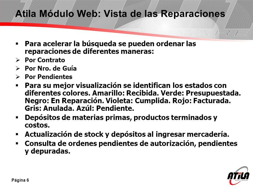 Atila Módulo Web: Vista de las Reparaciones
