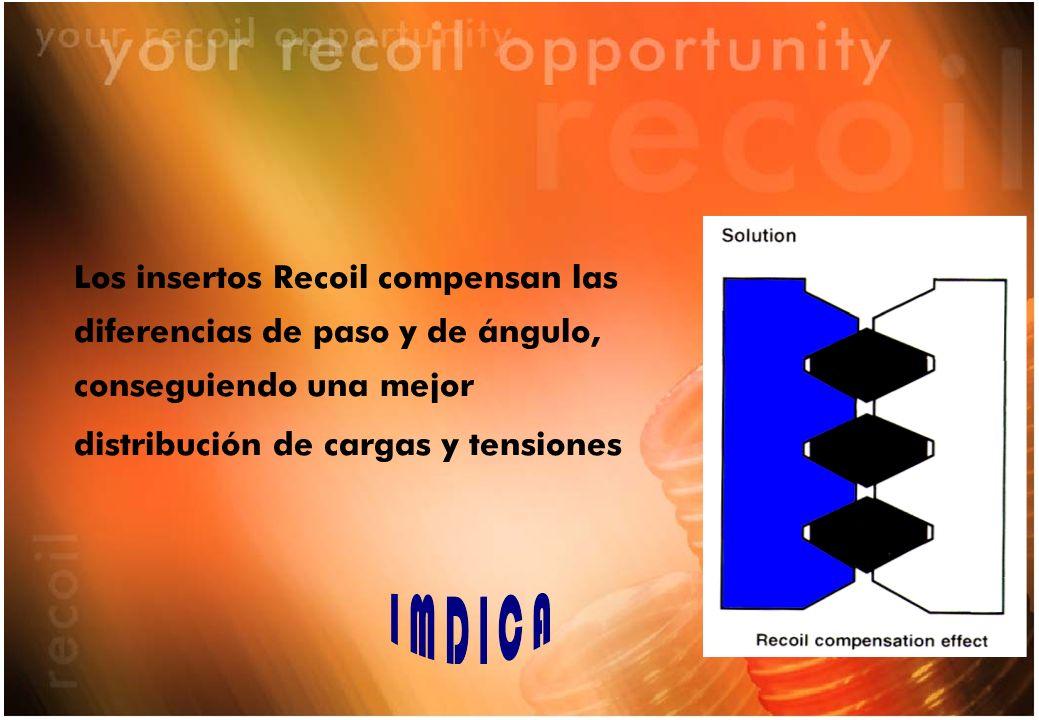 Los insertos Recoil compensan las diferencias de paso y de ángulo, conseguiendo una mejor
