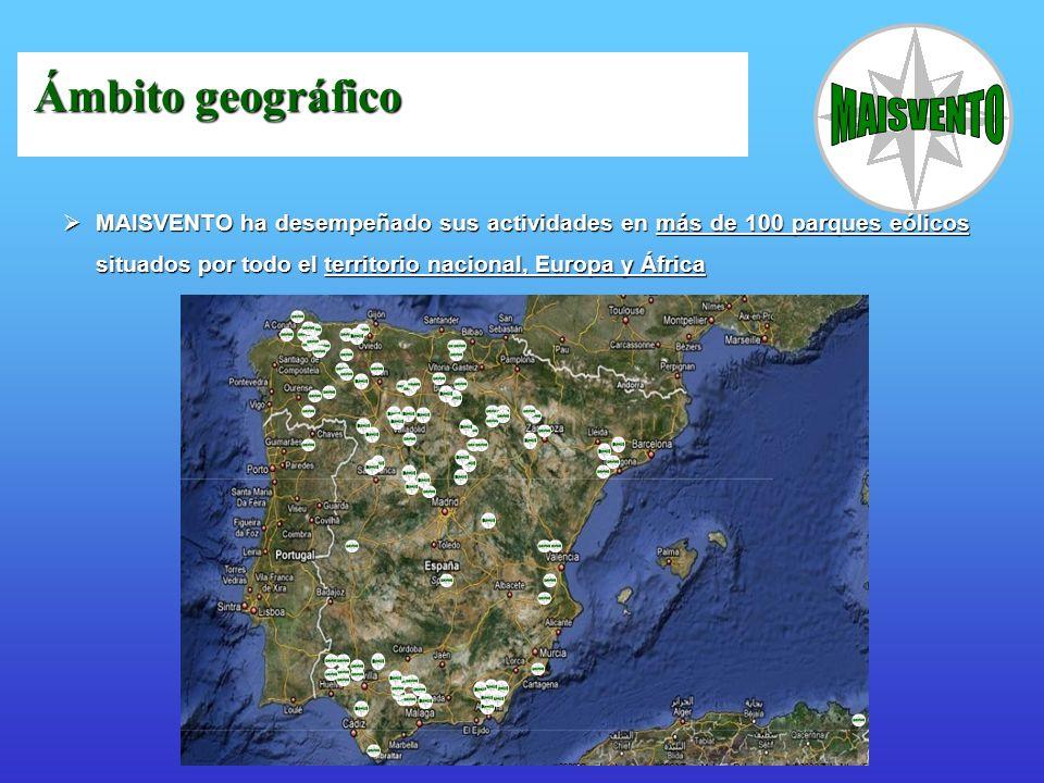 Ámbito geográfico MAISVENTO ha desempeñado sus actividades en más de 100 parques eólicos situados por todo el territorio nacional, Europa y África.