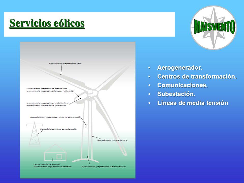 Servicios eólicos Aerogenerador. Centros de transformación.