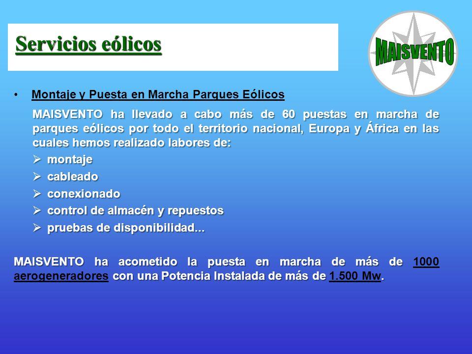 Servicios eólicos Montaje y Puesta en Marcha Parques Eólicos