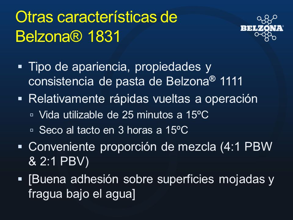 Otras características de Belzona® 1831