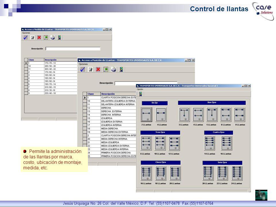 Control de llantas Permite la administración de las llantas por marca, costo, ubicación de montaje, medida, etc.