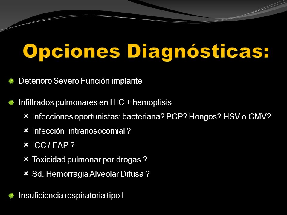 Opciones Diagnósticas: