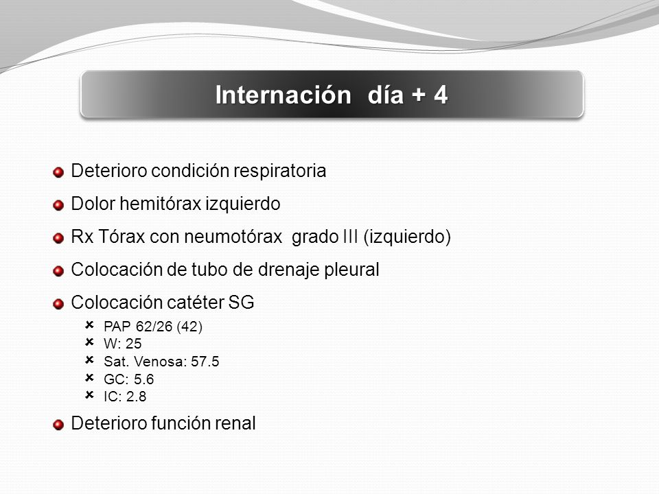 Internación día + 4 Deterioro condición respiratoria
