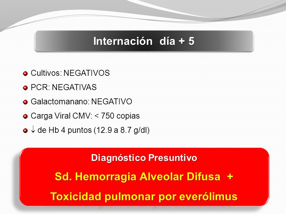 Sd. Hemorragia Alveolar Difusa + Toxicidad pulmonar por everólimus