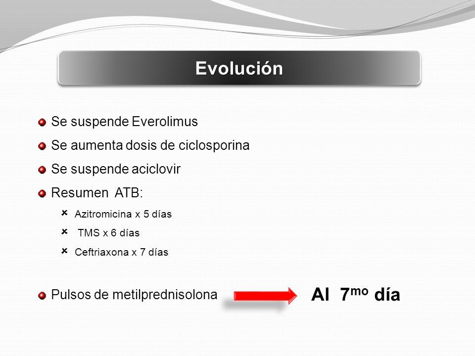 Evolución Al 7mo día Se suspende Everolimus