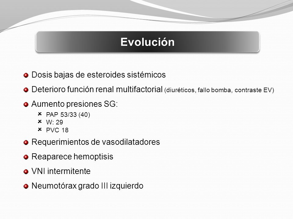 Evolución Dosis bajas de esteroides sistémicos