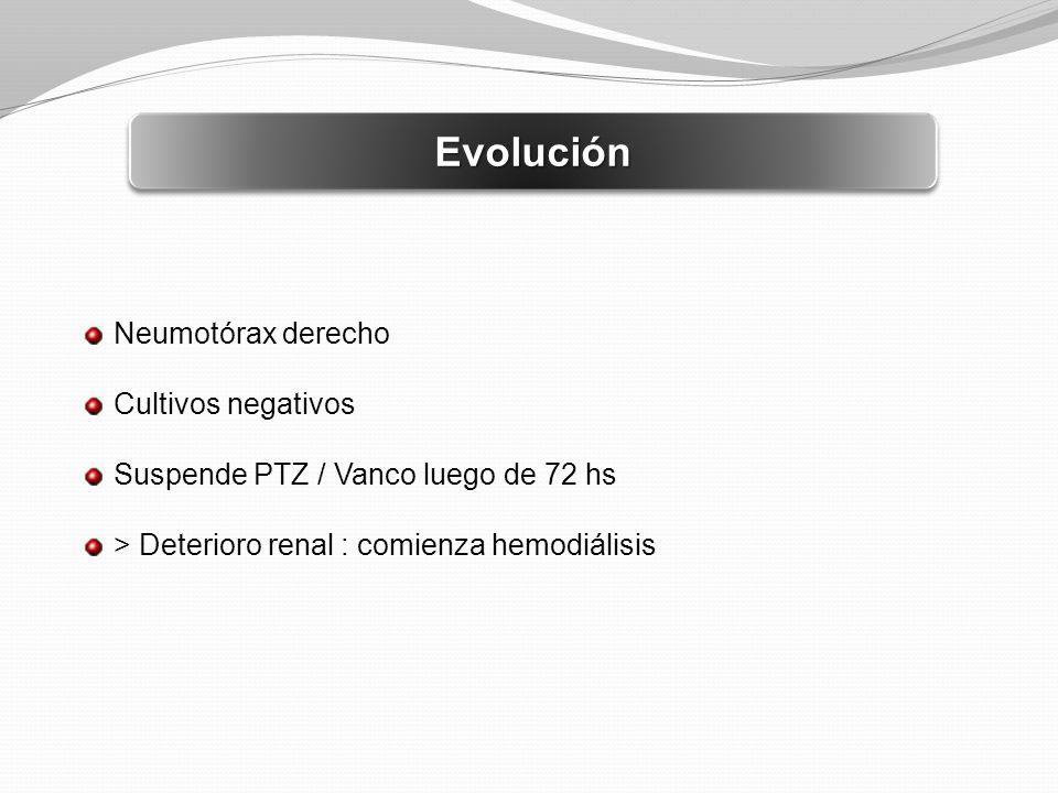 Evolución Neumotórax derecho Cultivos negativos