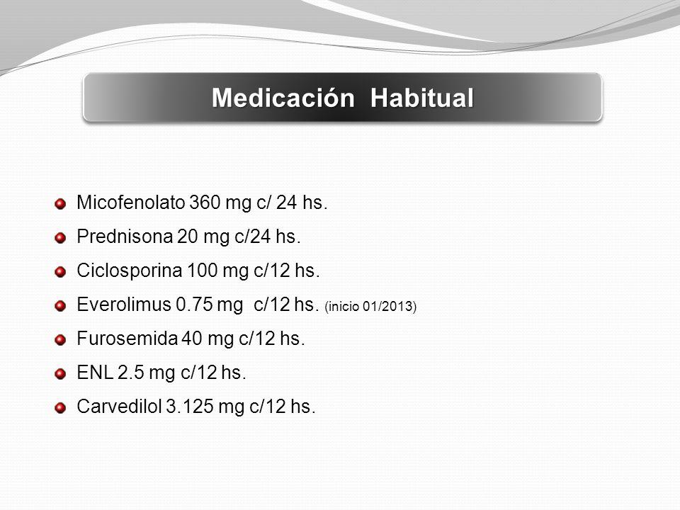 Medicación Habitual Micofenolato 360 mg c/ 24 hs.