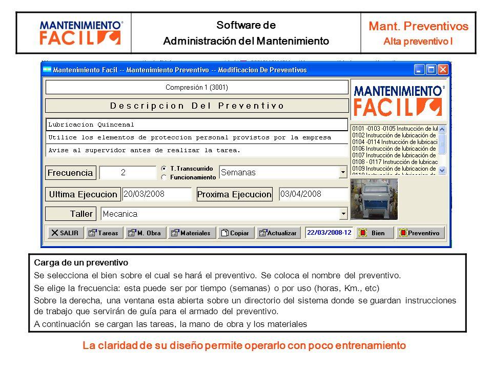 Mant. Preventivos Software de Administración del Mantenimiento