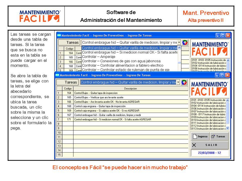 Mant. Preventivo Software de Administración del Mantenimiento