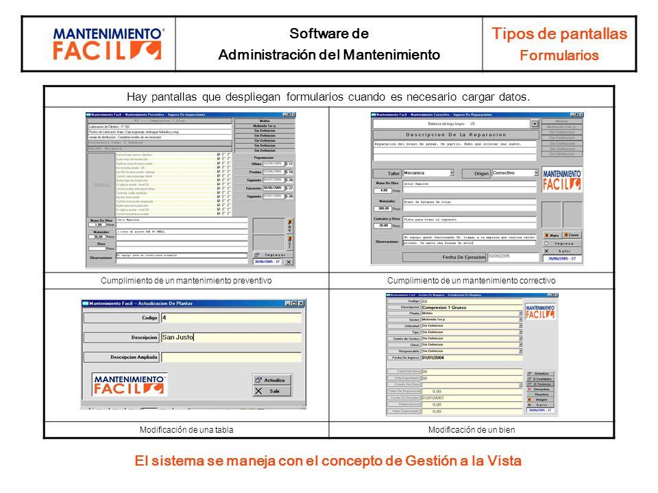 Tipos de pantallas Software de Formularios