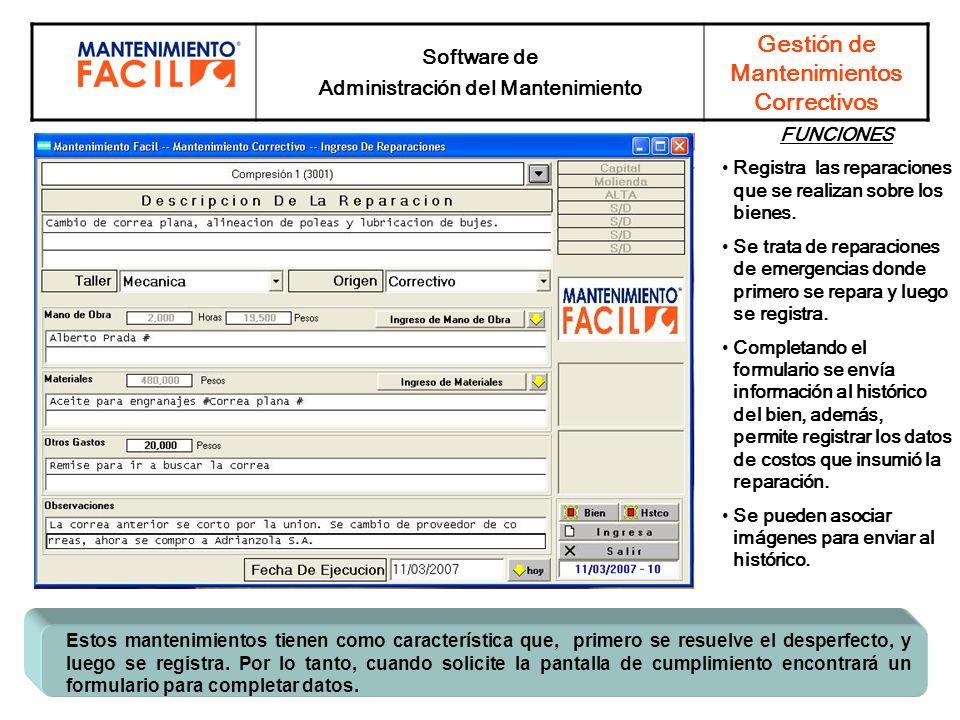 Administración del Mantenimiento Gestión de Mantenimientos Correctivos