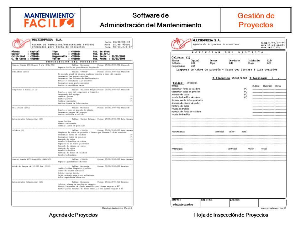 Administración del Mantenimiento Hoja de Inspección de Proyectos