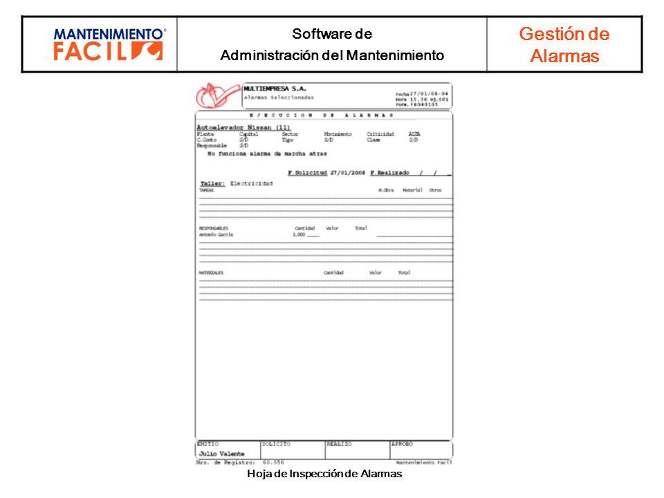 Administración del Mantenimiento Hoja de Inspección de Alarmas