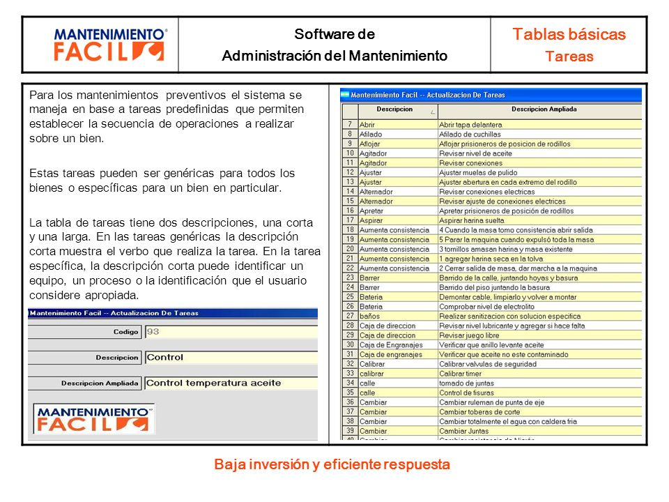 Administración del Mantenimiento Baja inversión y eficiente respuesta