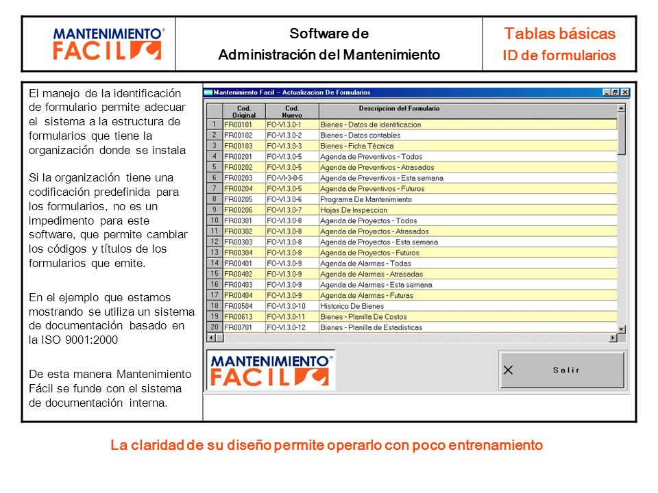 Tablas básicas Software de ID de formularios