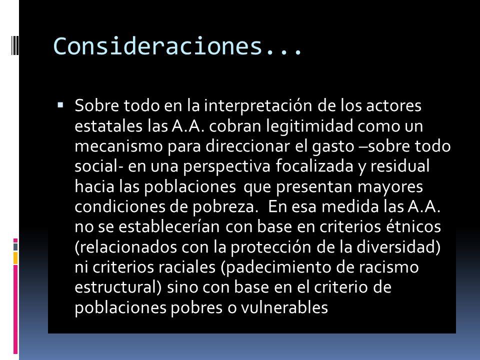 Consideraciones...