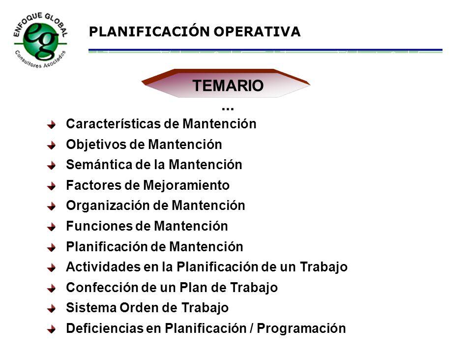 TEMARIO ... Características de Mantención Objetivos de Mantención