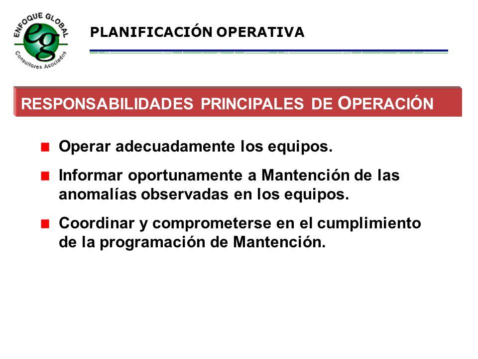 RESPONSABILIDADES PRINCIPALES DE OPERACIÓN